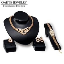 OAIITE African Beads Jewelry Sets Gold Color Wedding Jewelry Sets for Women Necklace Bracelet With CZ Earrings Rings Accessories
