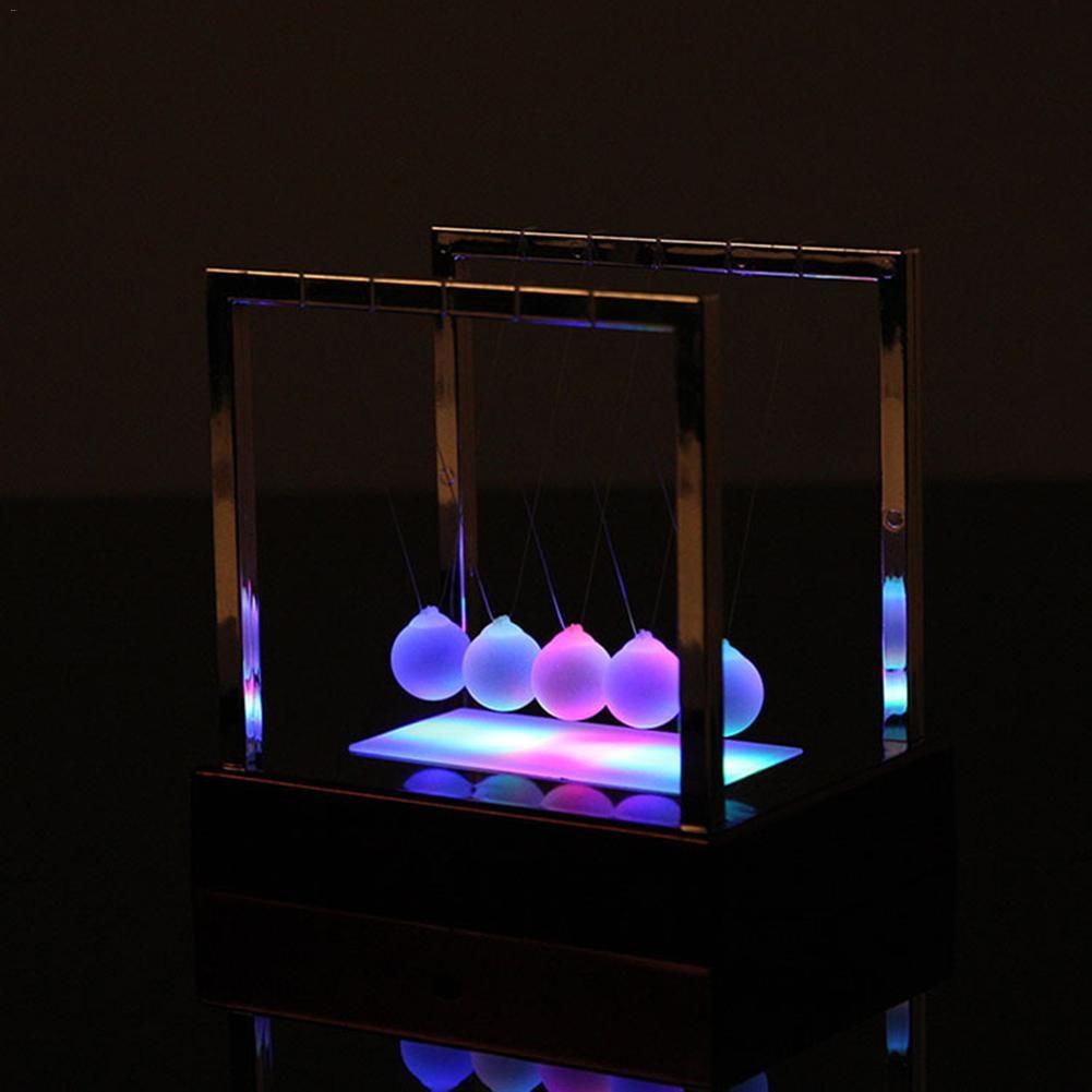 Class interactive Light Up Newton's Cradle Glass Balance Ball Luminous Newton balls Development Educational Desk Toy