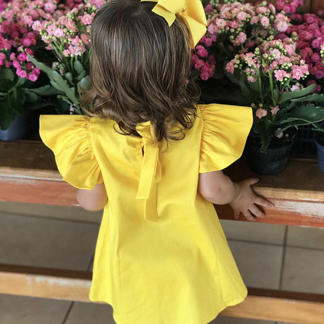 2019 Summer Infant children Baby Girls Dresses clothes Fly Sleeve Solid Bow Dress Clothes Dresses princess dress girl costume