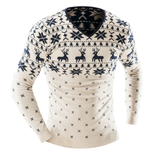 Hot Sale 2017 Autumn Winter Pullover Men Christmas Sweater 0 Neck Casual Pullover Sweaters Deer Pattern New Year Men Sweater