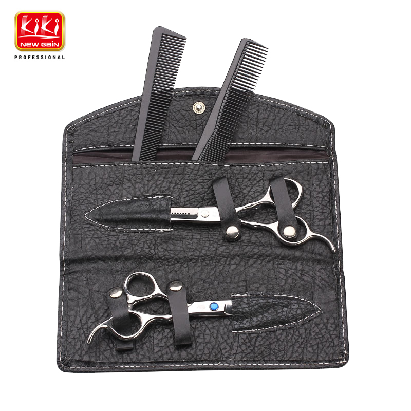 KIKI Hair Scissors.6.0 Inch.Professional Barber Scissors With Leather Bag.HRC68.4CR Stainless Steel.Right-handed.Styling Tools