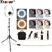 Travor RL-18A LED Ring Light Dimmable Bi-color 512PCS Annular Lamp&Tripod Studio LED Ring Photography Lighting For Makeup YouTub(China)