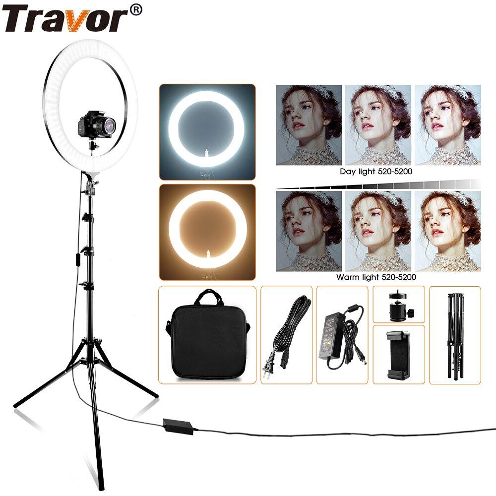 Travor RL-18A anillo de luz LED regulable bicolor piezas 512 piezas lámpara anular y trípode anillo LED iluminación de fotografía para maquillaje YouTub