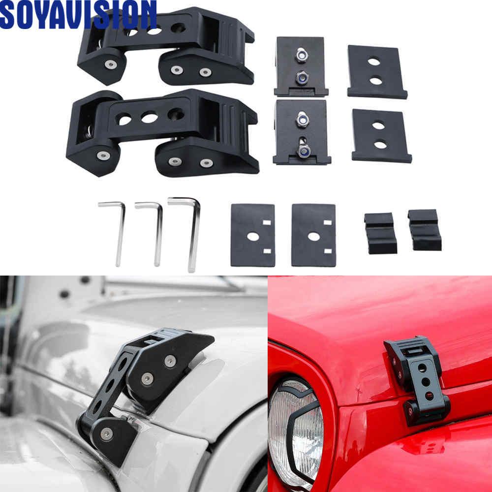 Black Aluminum Hood Latches Hood Lock Catch for 2007 2018 Jeep Wrangler JK JKU Car Accessories