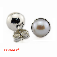Elegant Beauty Stud Earrings With White Pearl 100 Authentic 925 Sterling Silver Jewelry For Women Wholesale