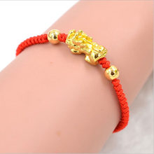 จีน Feng Shui Gold Pi Xiu Kabbalah Red String สร้อยข้อมือ Evil Eye Protection(China)