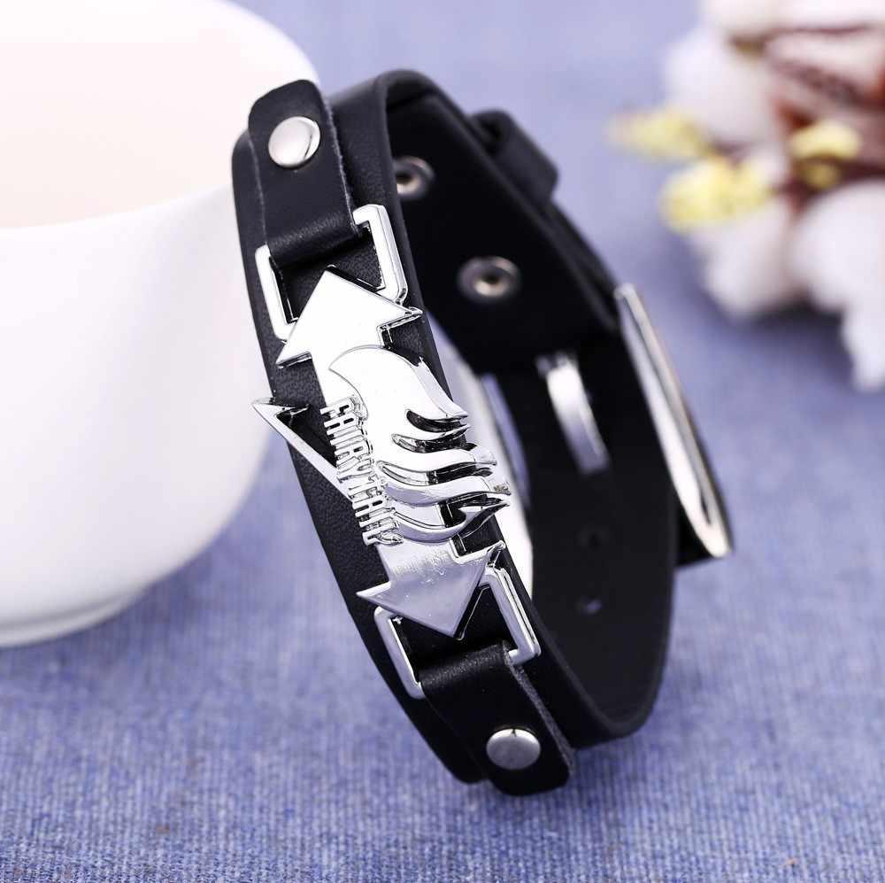 Kadın erkek Peri Kuyruk Logosu charm bilezik siyah deri zincir Unisex Charm Takı Aksesuarları Bileklik Oyuncak Hediye Fairytail