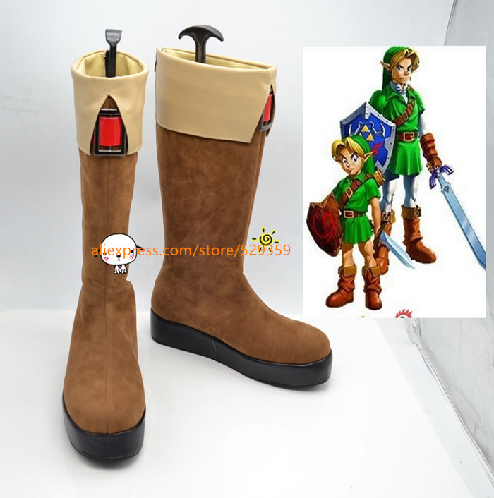 Anime The Legend of Zelda link cosplay shoes bootsHalloween Party  Custom Made
