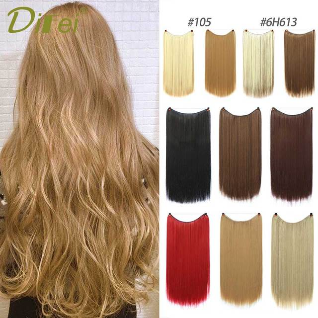 22 56 Cm Long Wave Invisible Hair Extension Without Clip Fish Line