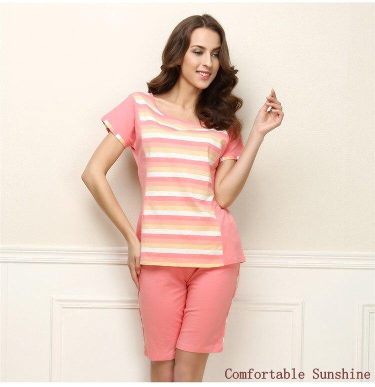 Summer   Homewear Female Casual Striped Pajama Sets Women Round Collar Shirt + Half Pants Ladies Cotton Sleepwear Suit