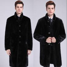 Black thicken stand collar fashion warm faux Mink fur coat mens leather jacket men long coats slim winter thermal outerwear