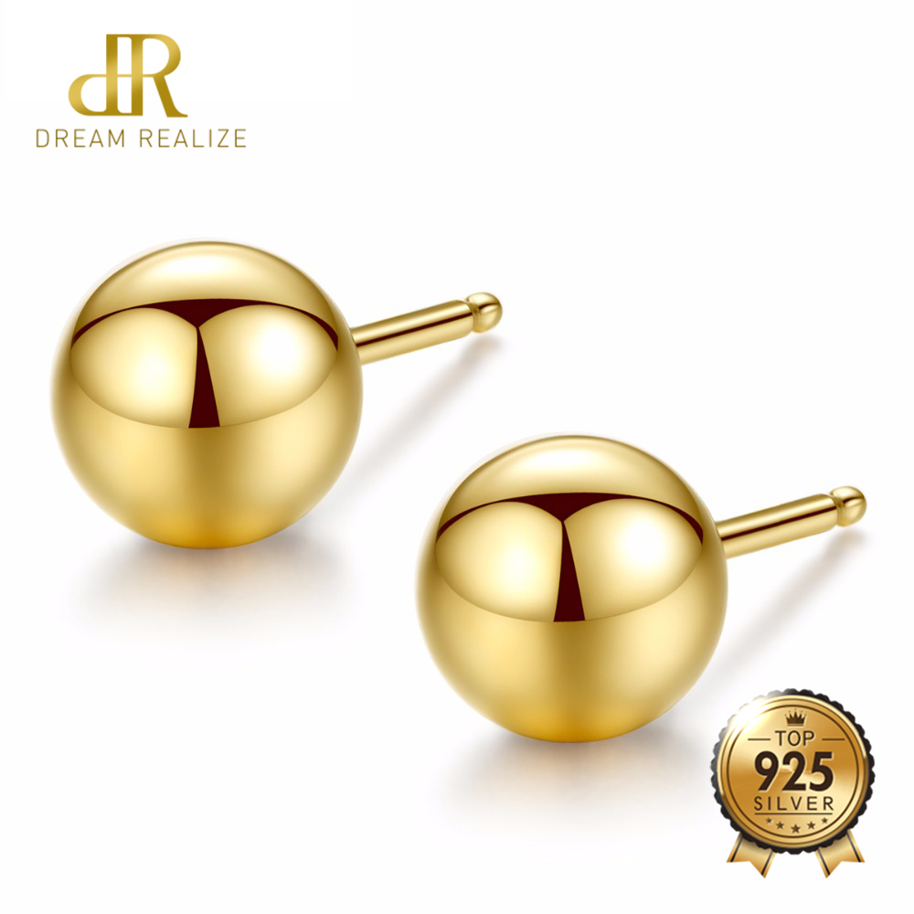 DR Brand Simple 18K Gold Stud Earring With Round ball shape Earring size 0.3cm/0.4cm/0.5cm For Women Banquet Party classic minimalist ball 18k gold bead stud earring for womens man girls diameter 3 4 5mm optional real au 750 stud earring
