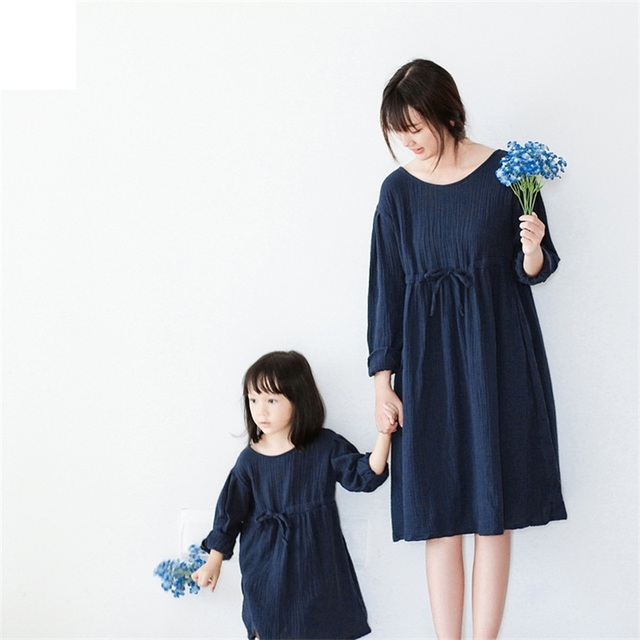 2017 brand design new cotton long sleeve soft solid vintage casual mom girls mother daughter dress sets family matching clothes