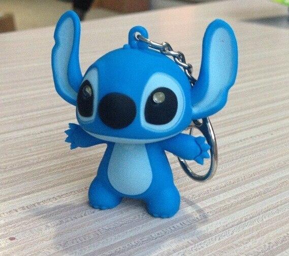 Wholesale 100 pcs lot New Lilo And Stitch Toys Cartoon Anime Stitch LED Keychains Lighting Sounds