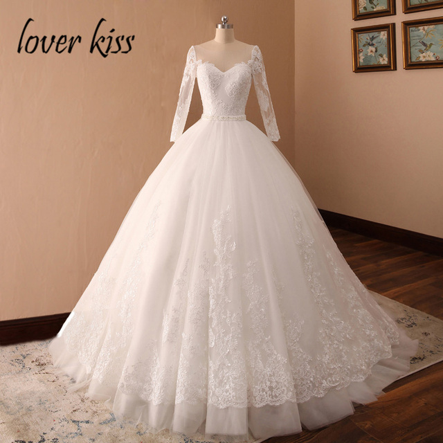 Lover Kiss Vestido De Noiva Princess Lace Long Sleeve Wedding Dress Gelinlik Pearls Bridal Gowns For Wedding Brautkleid 2019