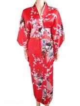Red Japanese Women's Silk Satin Kimono Yukata Evening Dress Haori Kimono With Obi peafowl One Size H0040-A