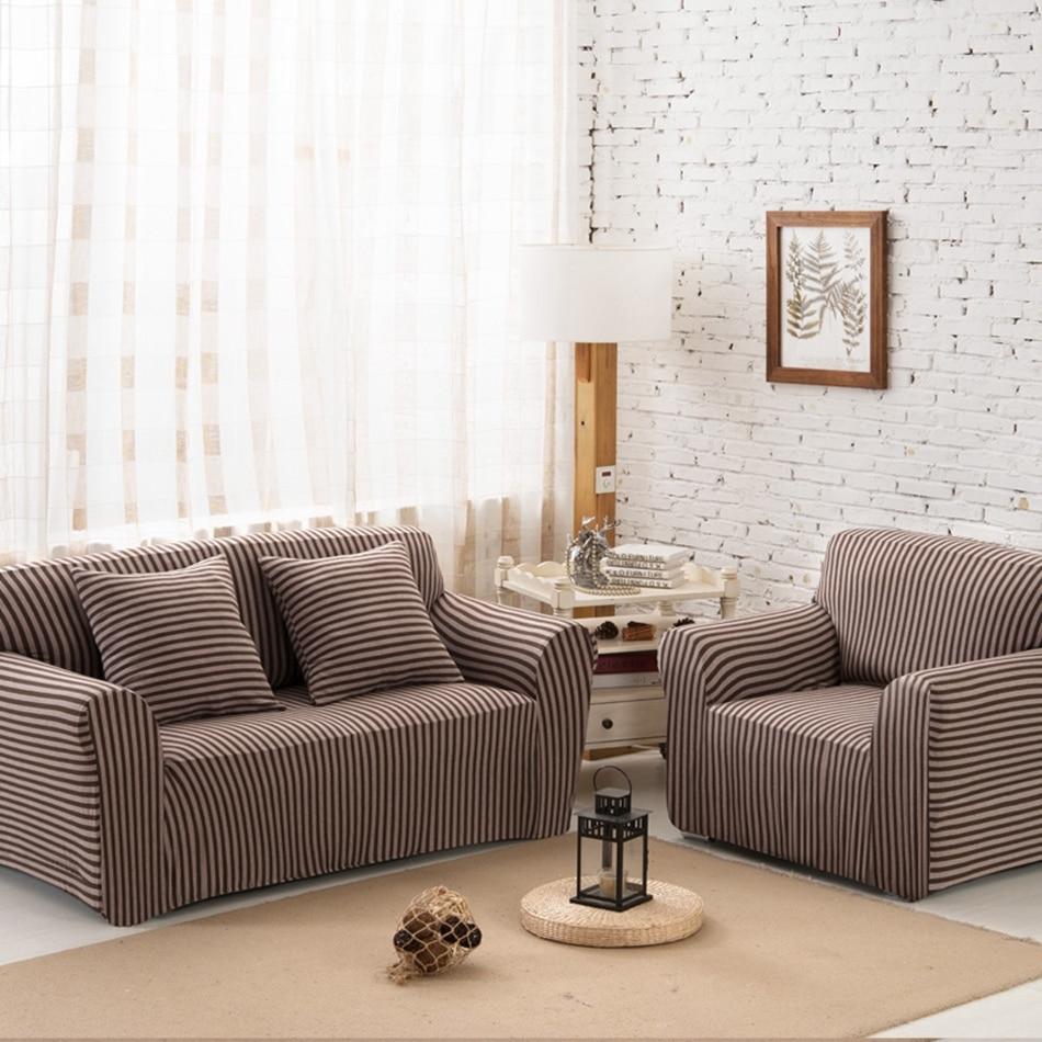 Home Decor Sofa: Brown Stripes Cheap Corner Sofa Covers For Living Room