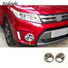 For Suzuki Vitara 2016 2017 2018 2019 Car Body Front Fog Light Lamp Detector Frame Stick Styling ABS Chrome Trim Parts 2pcs