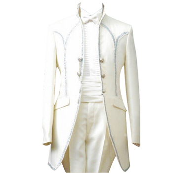 HCF by Air Men's 4 Piece with Shiny Sequins Edge Suits for Party(Jacket+Pants+Bowtie+Corset)