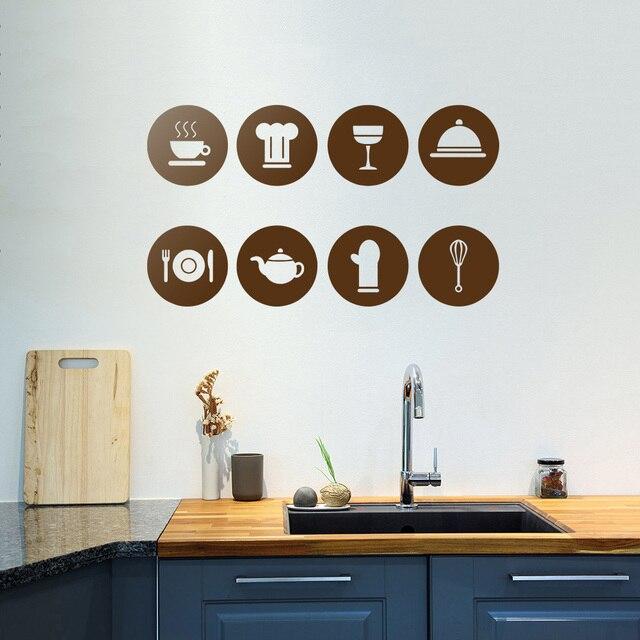 Tableware Pattern Wall Stickers DIY Kitchen Art Wall Decals Stickers  Removable Vinyl Restaurant Decoration Kitchen Wall