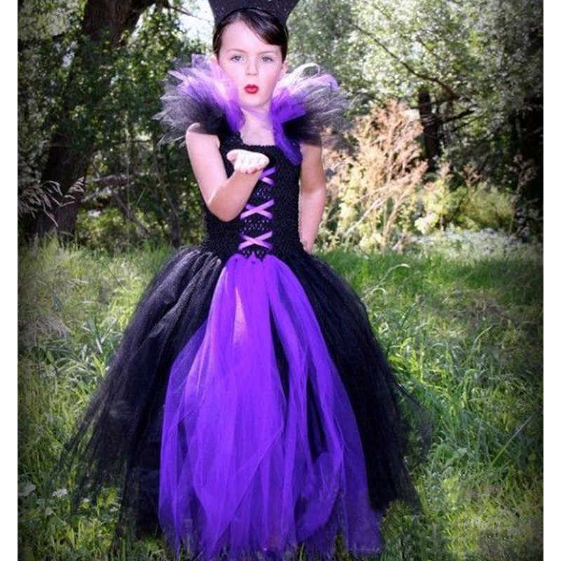 Carnaval Costumes for Kids Unicorn Party Baby Ball Gowns Little Black and Purple Crochet Turtleneck Dress Girls Birthday