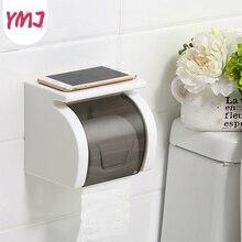 Punch Free Wall Mount Waterproof Toilet Paper Holder Plastic Shelf Roll Tube Storage Box Bathroom Phone Tissue Dispenser
