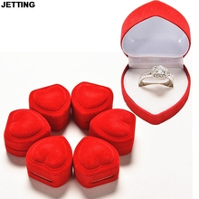 JETTING Red Heart Shaped Ring Boxes Mini Cute Red Carrying Cases For Rings Display Box Jewelry Packaging