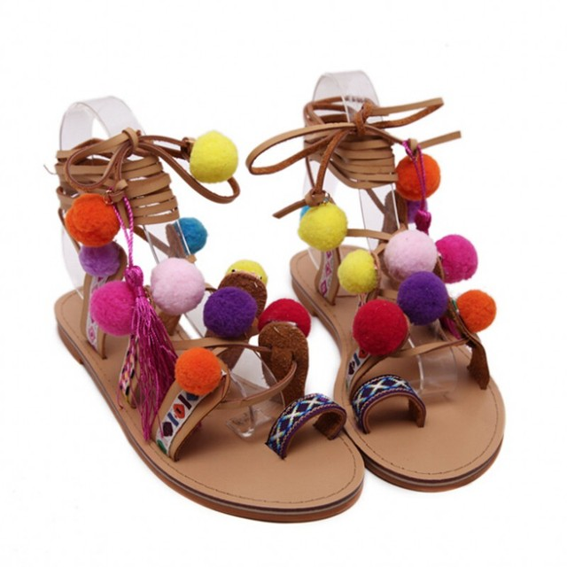Tassel  Woman Pompon Sandals