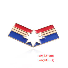 Newest Avengers 3 CAPTAIN Ms Marvel Carol Danvers Captain Marvel Brooch Superhero Cosplay Jewelry brooch Badge(China)