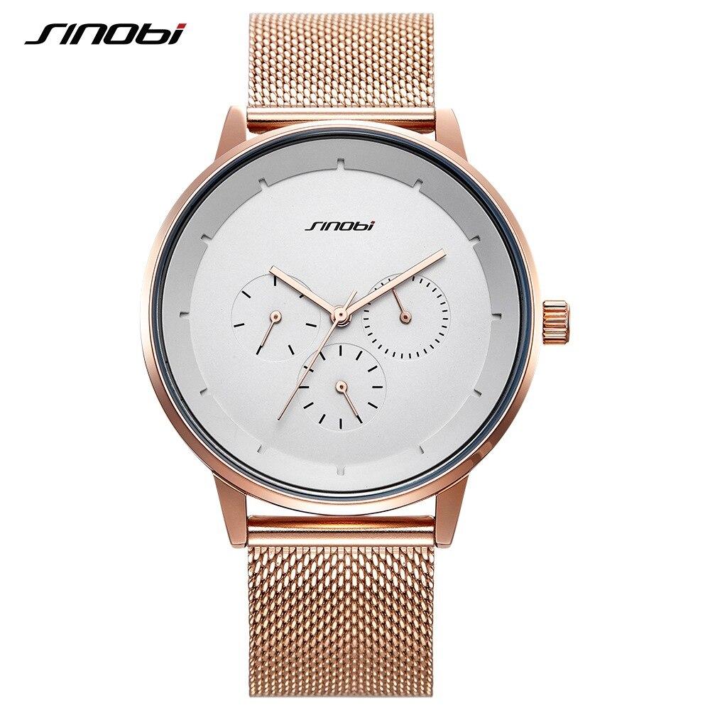 Rose Gold Men Watch SINOBI Top Brand Luxury Milan Mesh Band Fashion Casual Date Calendar Quartz Clock Business Watches Mens Gift top 10 milan