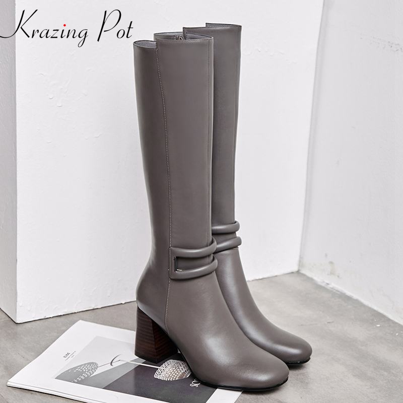 Krazing Pot hot sale cow leather round toe riding Equestrian boots gladiator square high heels keep warm thigh high boots L26