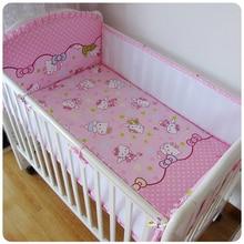 Promotion 5PCS Mesh Cartoon Cot Baby bedding set Cartoon crib bedding set 100 cotton bed clothes