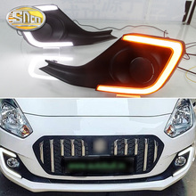 цена на For Suzuki Swift 2017 2018 2019 Turning Yellow Signal style Relay Waterproof 12V LED CAR DRL Daytime Running Light fog lamp