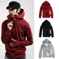 Cool Men Winter Warm Solid Color Gloves Sleeve Hooded Sweatshirt Outwear Jacket