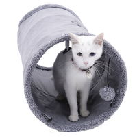 New Gray Light Cats Foldable Tunnel Pet Toys Washed Paw Paper Tube With Sliding Hole Removable