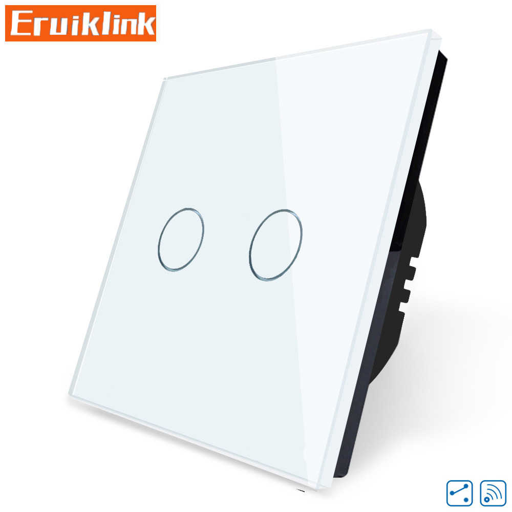 Eu/UK Standar Touch Switch, 1/2/3 Gang 2 Arah Panel Kaca Kristal 220V Single Fireline RF433 Remote Control Lampu Dinding switch