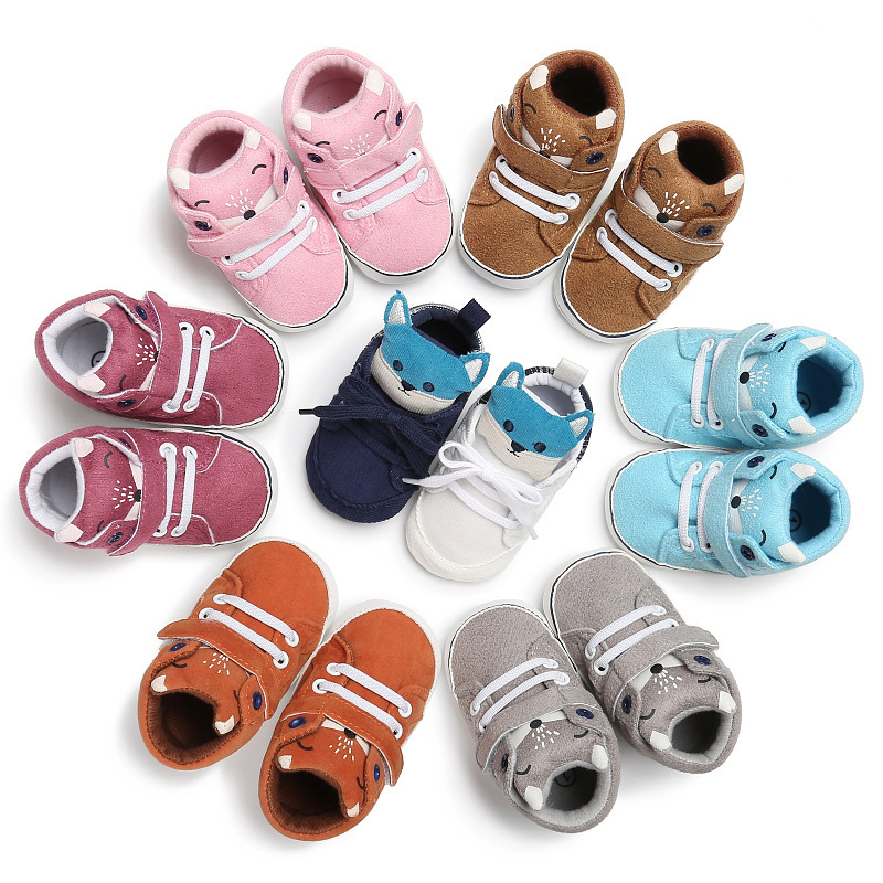 2 Pair Newborn Fox Head Baby Shoes Baby Boy Girl Soft Soled First Walker Cute Moccasins Footwear Anti-slip Toddler Sneaker