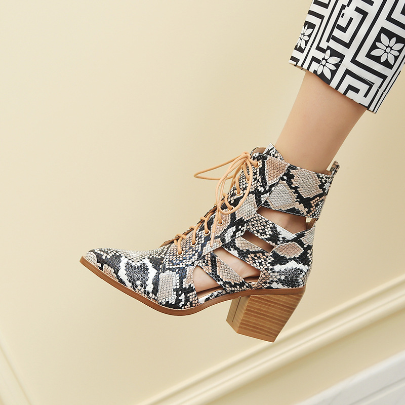 Fashion Snakeskin Pattern Sexy Hollow woman shoes in Pointed toe Cross tied Ankle Lace up High Heel Summer SandalsFashion Snakeskin Pattern Sexy Hollow woman shoes in Pointed toe Cross tied Ankle Lace up High Heel Summer Sandals