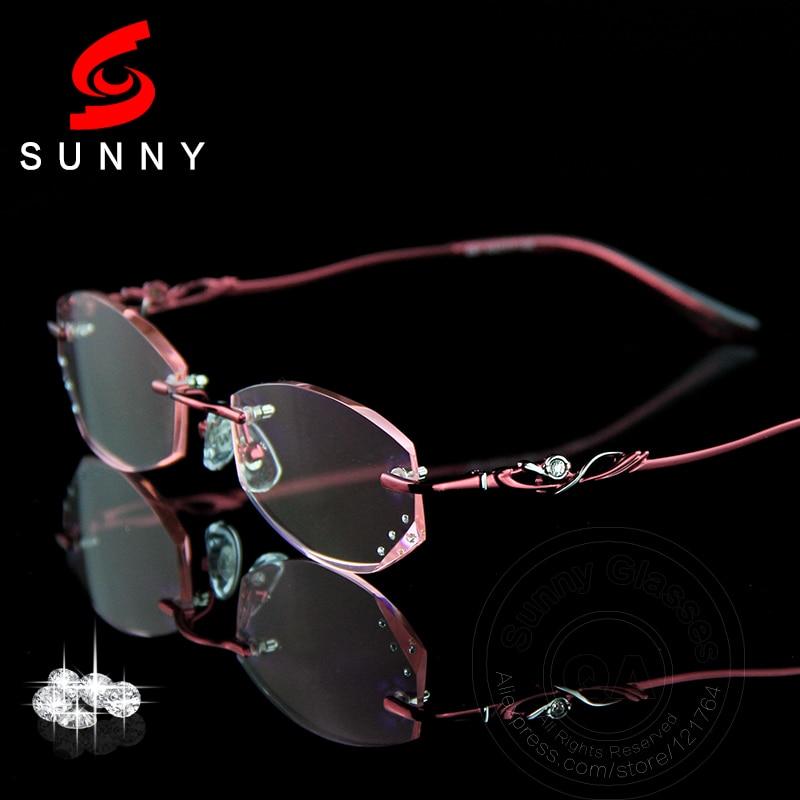 Crystal Reading Glasses Woman Rimless Eyeglasses Female