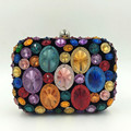 Women Hand Stitching Diamond Evening Bags Exquisite Color Crystal Clutches Dinner Party Handbags Ladies Chain Shoulder Bag