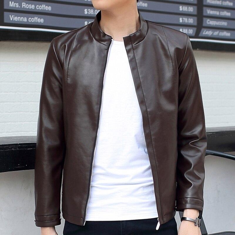 짧은 남자 청소년 가죽 재킷 코트 PU 짧은 모방 가죽 바이커 재킷