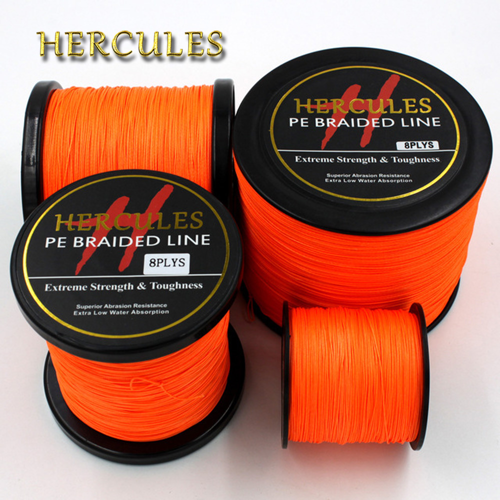 8 Strands 100M 300M 500M 1000M 1500M 2000M Orange Braided Fishing Line Sea Saltwater Carp Fishing Weave Extreme 100% PE Hercules new gevlochten draad braided fishing line wire 8 strands 1000m pe 100