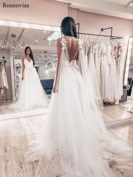 New Design Boho Wedding Dresses 2020 V Neck Backless Sweep Train Lace Appliques Customized Beach Wedding Dresses Bridal Gowns