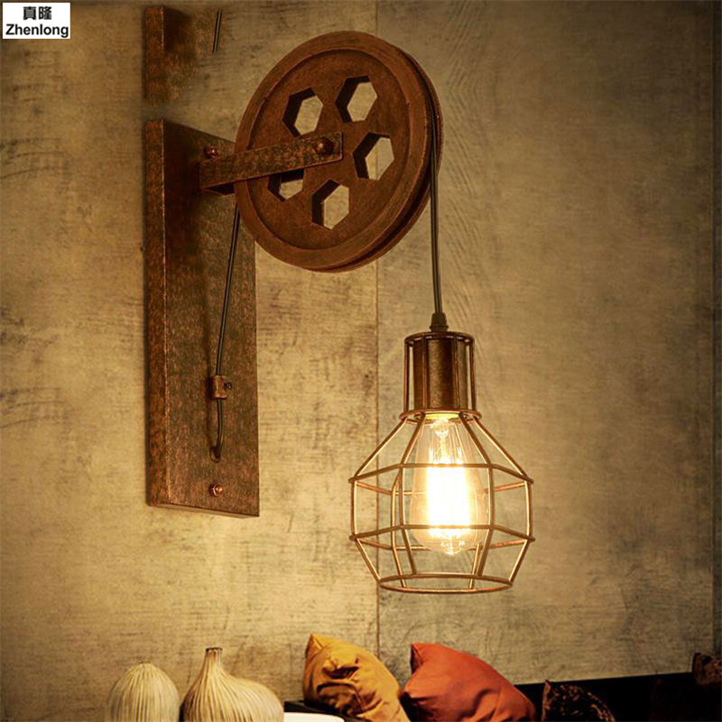 Loft Retro Lamp Creative Lifting Pulley Wall Light Dining Room Restaurant Aisle Corridor Pub Cafe Wall Lamp Bra Wall Sconce E27 american rural retro wall lamp nordic industrial loft sconce creative restaurant bar aisle bedside lamp outdoor wall light e27