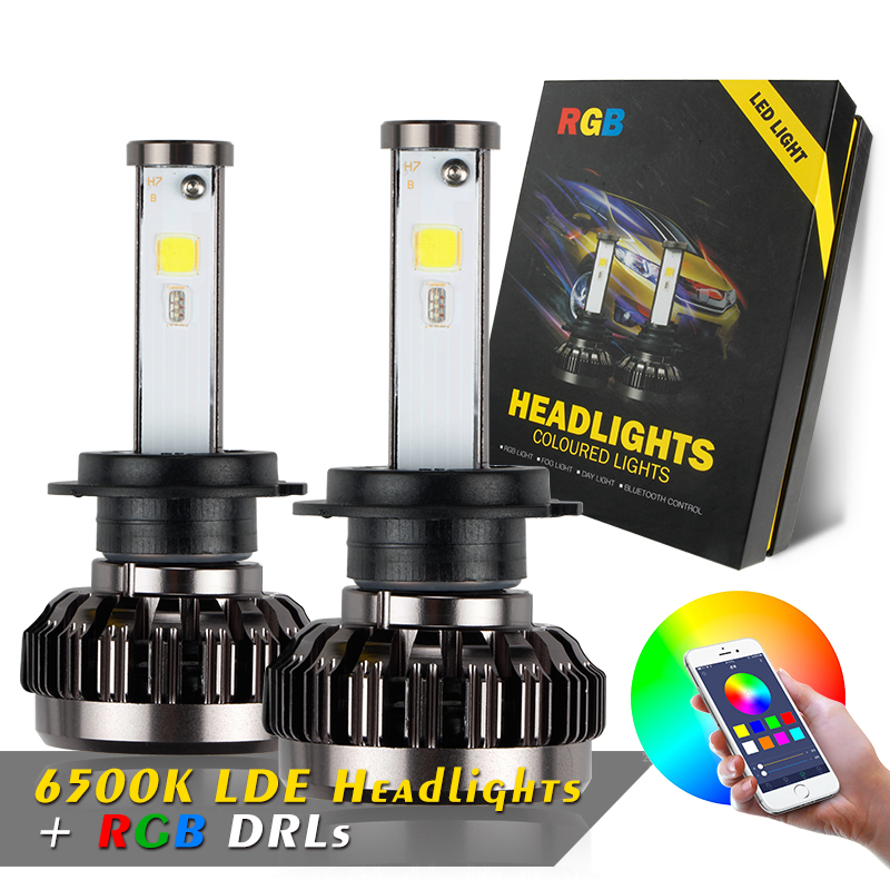 OKEEN H7 RGB light bulbs car LED headlight APP Bluetooth Control H1 H3 H8 H11 HB3 HB4 40W 4800LM 12V LED Bulbs car head lamp cool silver 2 pcs h11 led copper strips cooling r4 6000k 4800lm led lamp for car