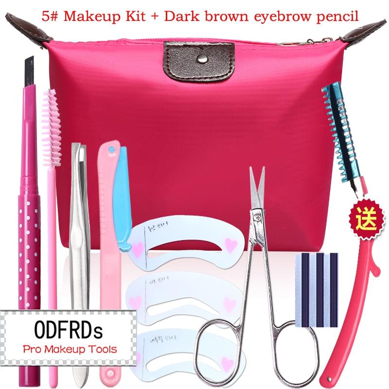 makeup set Eyebrow pencil+Tweezers+brushes+Trimmer+Eyebrow mold+Cosmetic scissors+blade+Bag make up kit 2034 ombre handle eyebrow tweezers