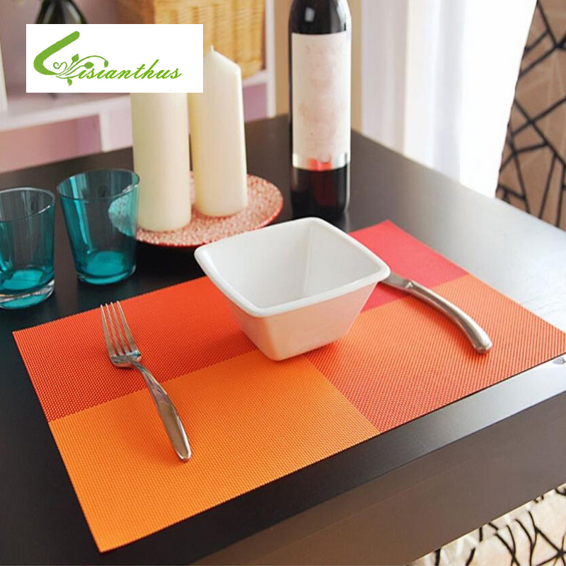 4Pcs PVC Placemat Dining Table Mats Set Bowl Pad Heat Insulation Non Slip