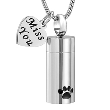 LKJ11937 Miss You Stainless Steel Charm Funeral Urn Casket Tube Cremation Pendant Paw Printed Pet Ashes Holder Keepsake