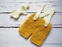 free shipping,handmade Crochet Baby Beige Bow tie with matching yellow overalls / shorts baby Set Newborn Photo Prop NB-3m gift