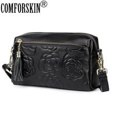 COMFORSKIN Luxurious 100% Cowhide Leather Messenger Bags 2019 European And American Embossed Flower Women Bolsas Feminina